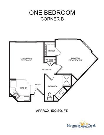 One Bedroom Corner A plan image