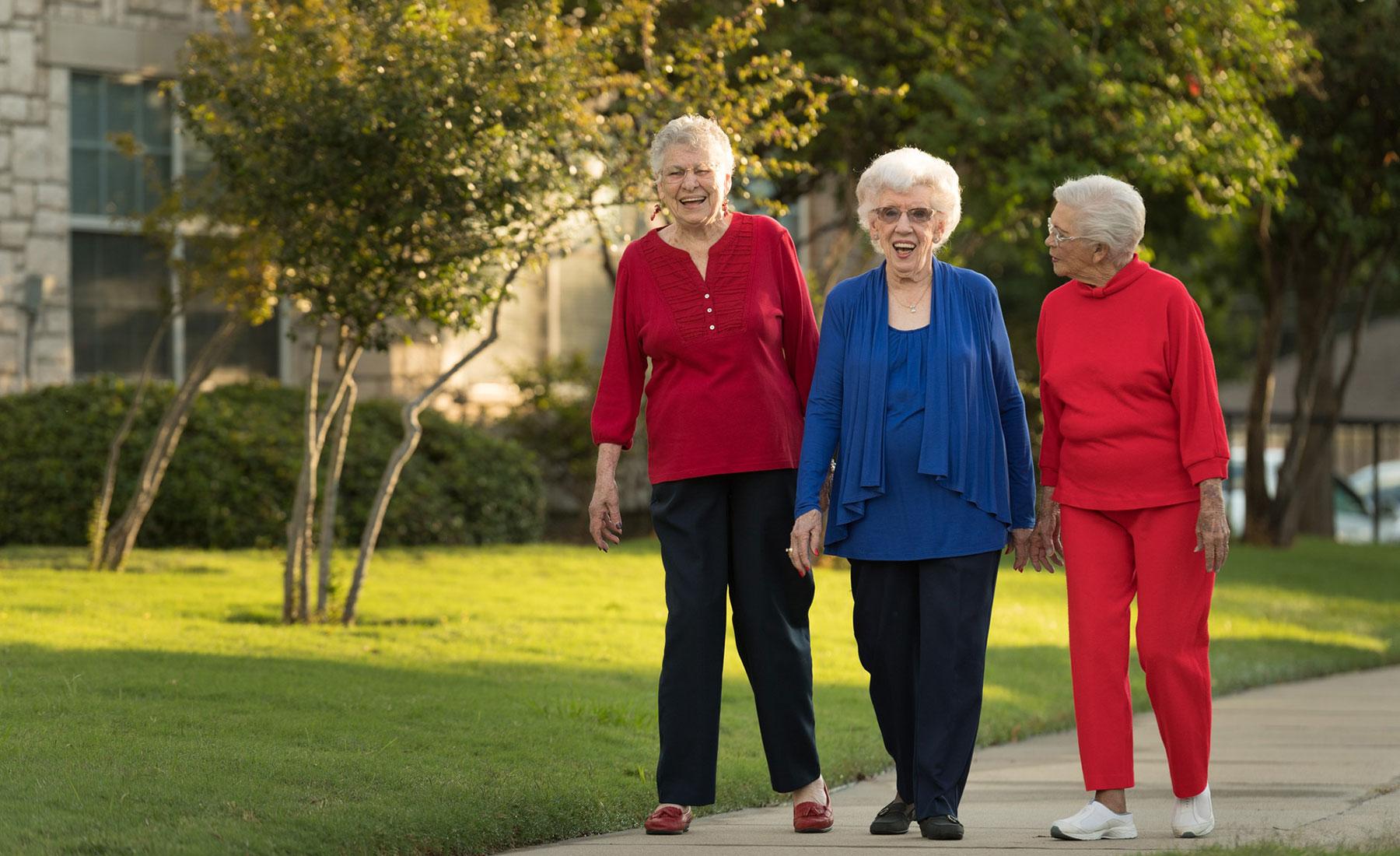 ladies walking at Mt. Creek Retirement Living in Texas.