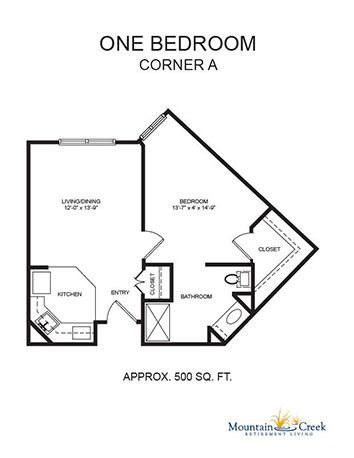 One Bedroom Corner A plan image